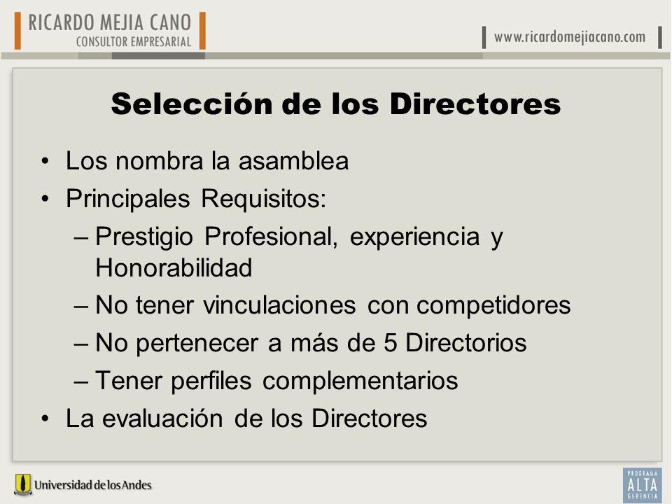 Selección de los Directores Los nombra la asamblea Principales Requisitos: –Prestigio Profesional, experiencia y Honorabilidad –No tener vinculaciones