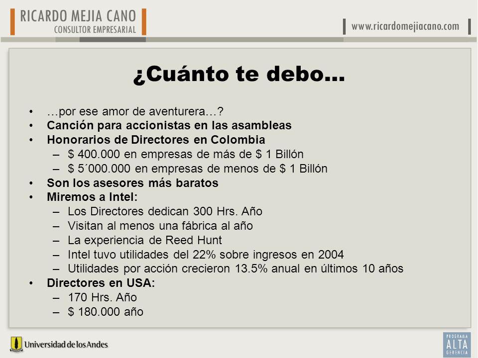 ¿Cuánto te debo… …por ese amor de aventurera…? Canción para accionistas en las asambleas Honorarios de Directores en Colombia –$ 400.000 en empresas d