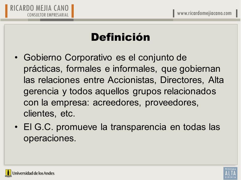 Definición Gobierno Corporativo es el conjunto de prácticas, formales e informales, que gobiernan las relaciones entre Accionistas, Directores, Alta g