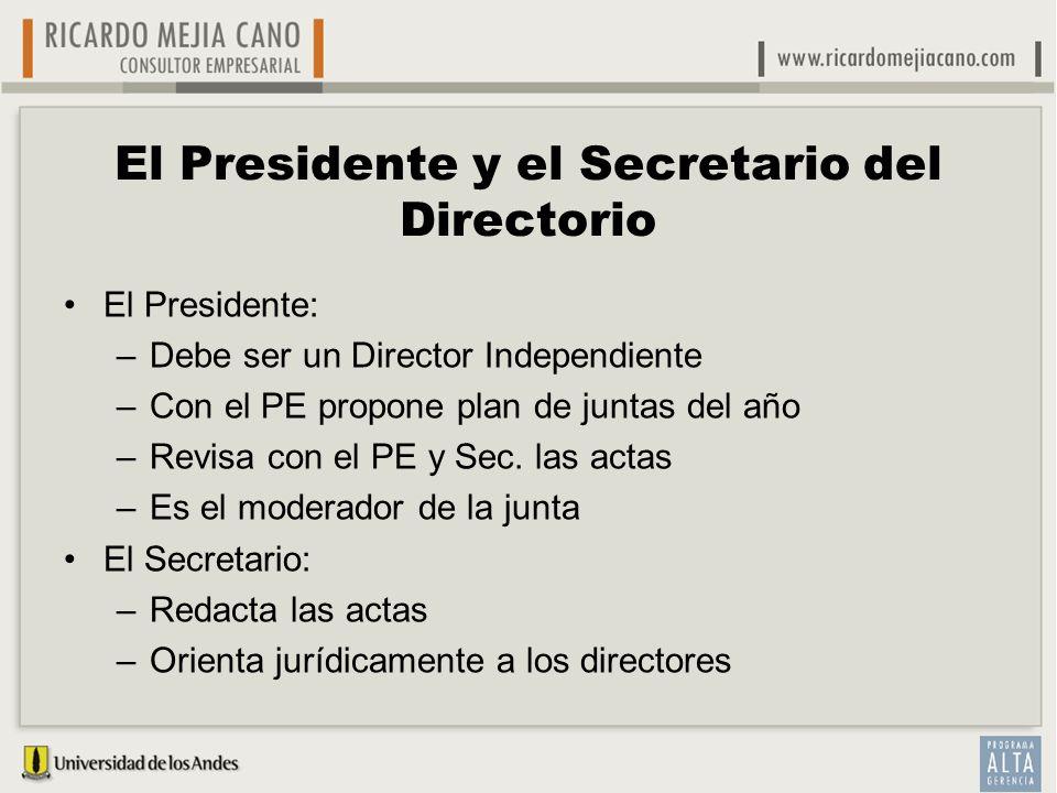 El Presidente y el Secretario del Directorio El Presidente: –Debe ser un Director Independiente –Con el PE propone plan de juntas del año –Revisa con