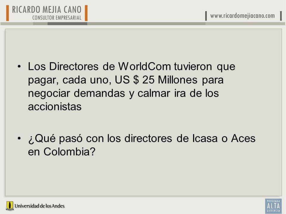 Los Directores de WorldCom tuvieron que pagar, cada uno, US $ 25 Millones para negociar demandas y calmar ira de los accionistas ¿Qué pasó con los dir