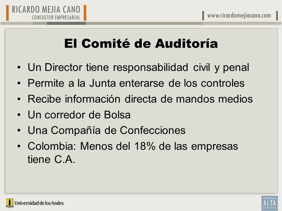 El Comité de Auditoría Un Director tiene responsabilidad civil y penal Permite a la Junta enterarse de los controles Recibe información directa de man