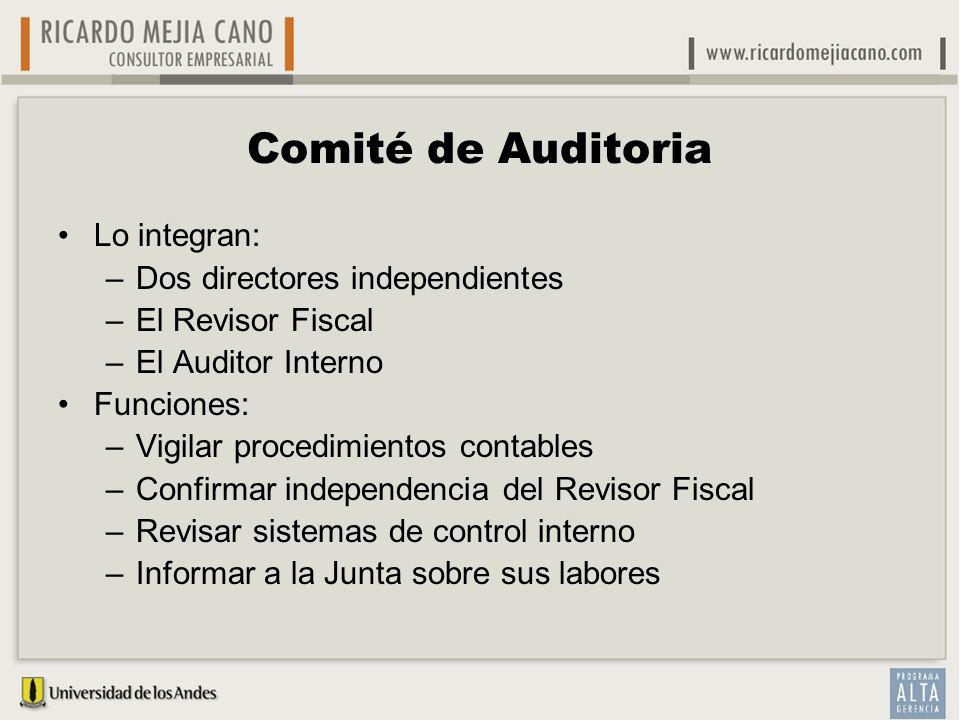 Comité de Auditoria Lo integran: –Dos directores independientes –El Revisor Fiscal –El Auditor Interno Funciones: –Vigilar procedimientos contables –C