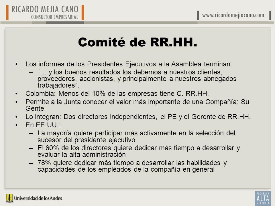 Comité de RR.HH. Los informes de los Presidentes Ejecutivos a la Asamblea terminan: –… y los buenos resultados los debemos a nuestros clientes, provee