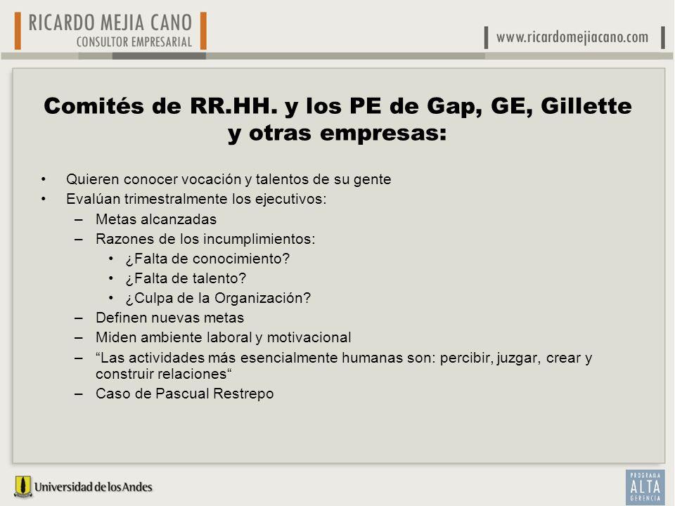 Comités de RR.HH. y los PE de Gap, GE, Gillette y otras empresas: Quieren conocer vocación y talentos de su gente Evalúan trimestralmente los ejecutiv