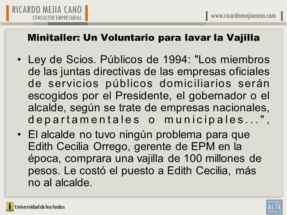 Minitaller: Un Voluntario para lavar la Vajilla Ley de Scios. Públicos de 1994: