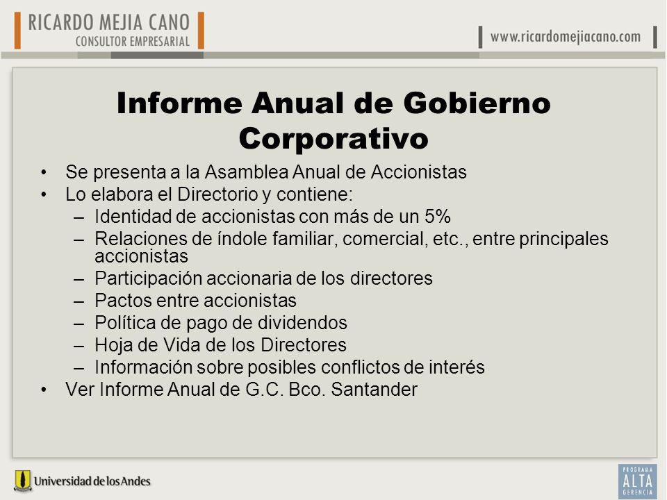 Informe Anual de Gobierno Corporativo Se presenta a la Asamblea Anual de Accionistas Lo elabora el Directorio y contiene: –Identidad de accionistas co