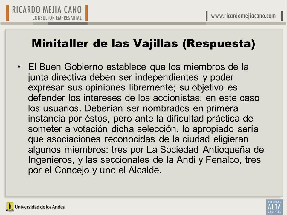 Minitaller de las Vajillas (Respuesta) El Buen Gobierno establece que los miembros de la junta directiva deben ser independientes y poder expresar sus