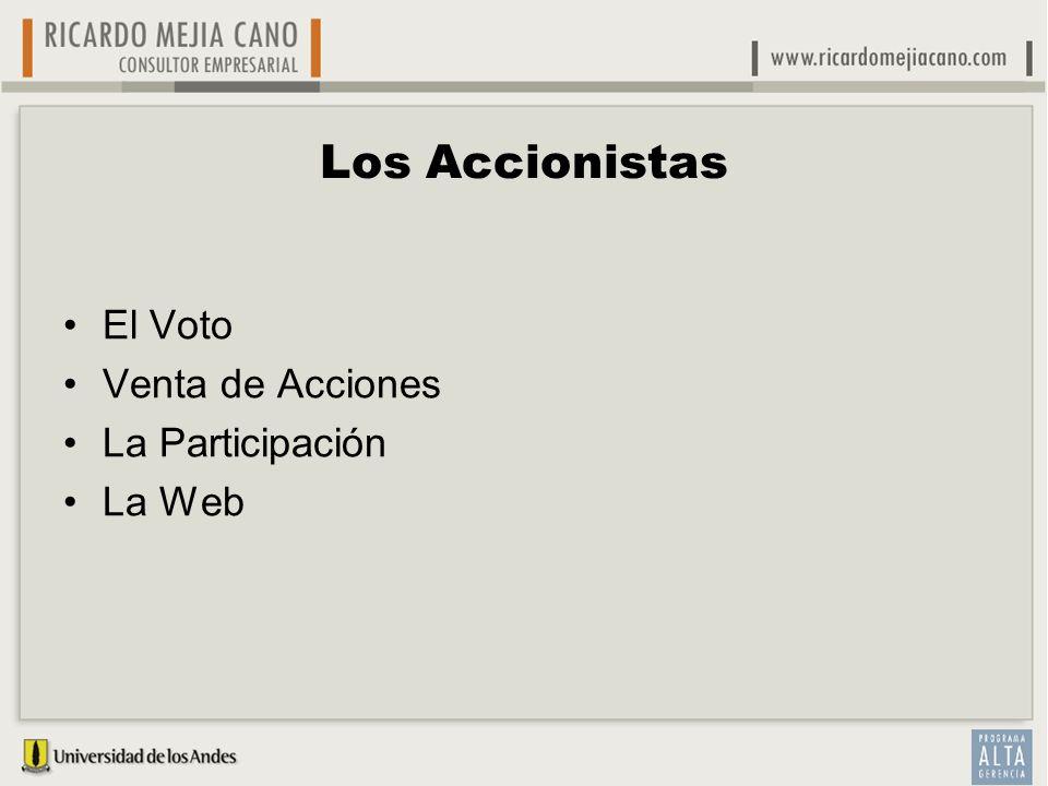 Los Accionistas El Voto Venta de Acciones La Participación La Web