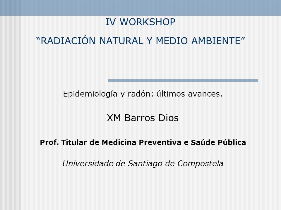 IV WORKSHOP RADIACIÓN NATURAL Y MEDIO AMBIENTE Epidemiología y radón: últimos avances. XM Barros Dios Prof. Titular de Medicina Preventiva e Saúde Púb