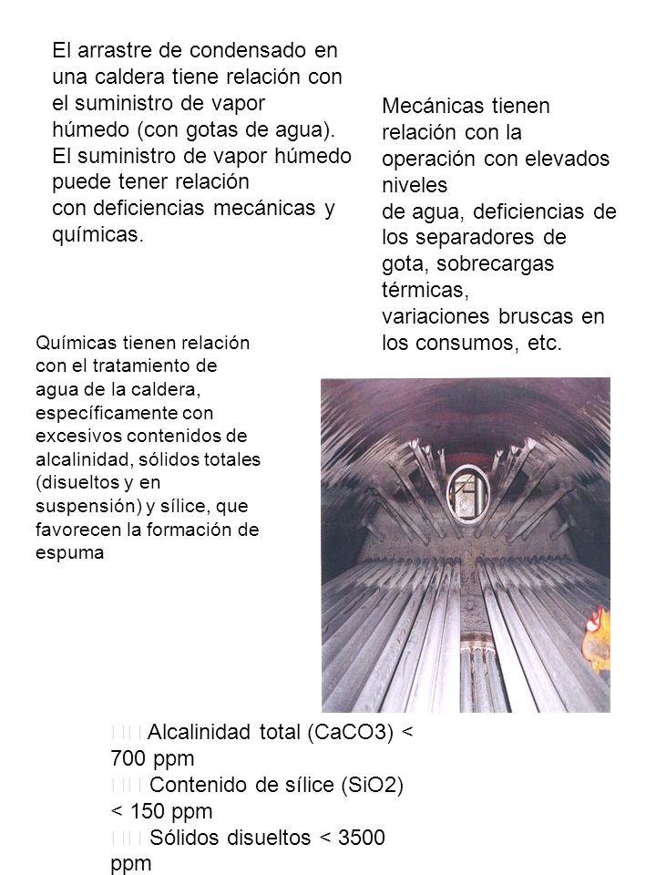 El arrastre de condensado en una caldera tiene relación con el suministro de vapor húmedo (con gotas de agua). El suministro de vapor húmedo puede ten
