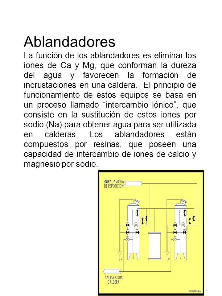 Ablandadores La función de los ablandadores es eliminar los iones de Ca y Mg, que conforman la dureza del agua y favorecen la formación de incrustacio