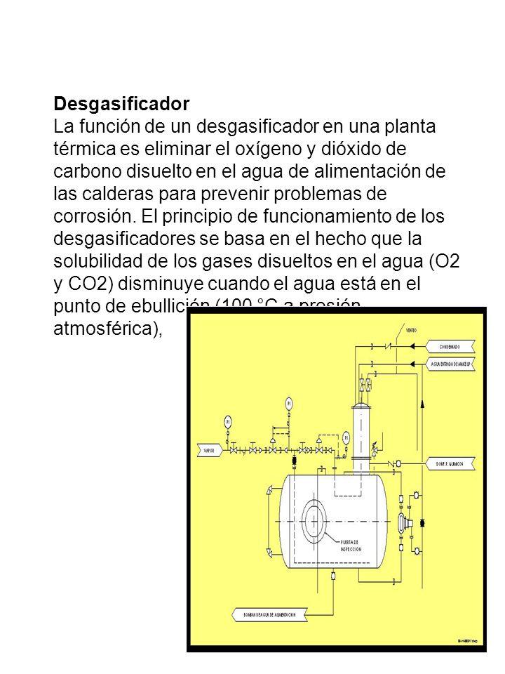 Desgasificador La función de un desgasificador en una planta térmica es eliminar el oxígeno y dióxido de carbono disuelto en el agua de alimentación d