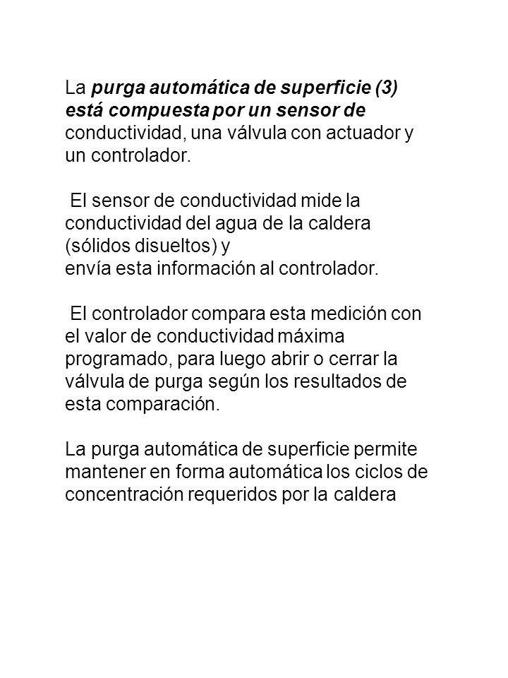 La purga automática de superficie (3) está compuesta por un sensor de conductividad, una válvula con actuador y un controlador. El sensor de conductiv