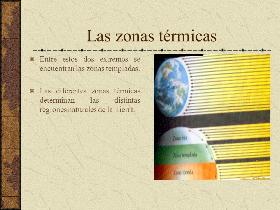 Las zonas térmicas Entre estos dos extremos se encuentran las zonas templadas. Las diferentes zonas térmicas determinan las distintas regiones natural