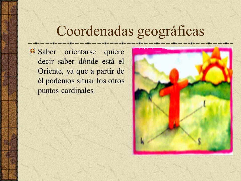 Coordenadas geográficas Saber orientarse quiere decir saber dónde está el Oriente, ya que a partir de él podemos situar los otros puntos cardinales.