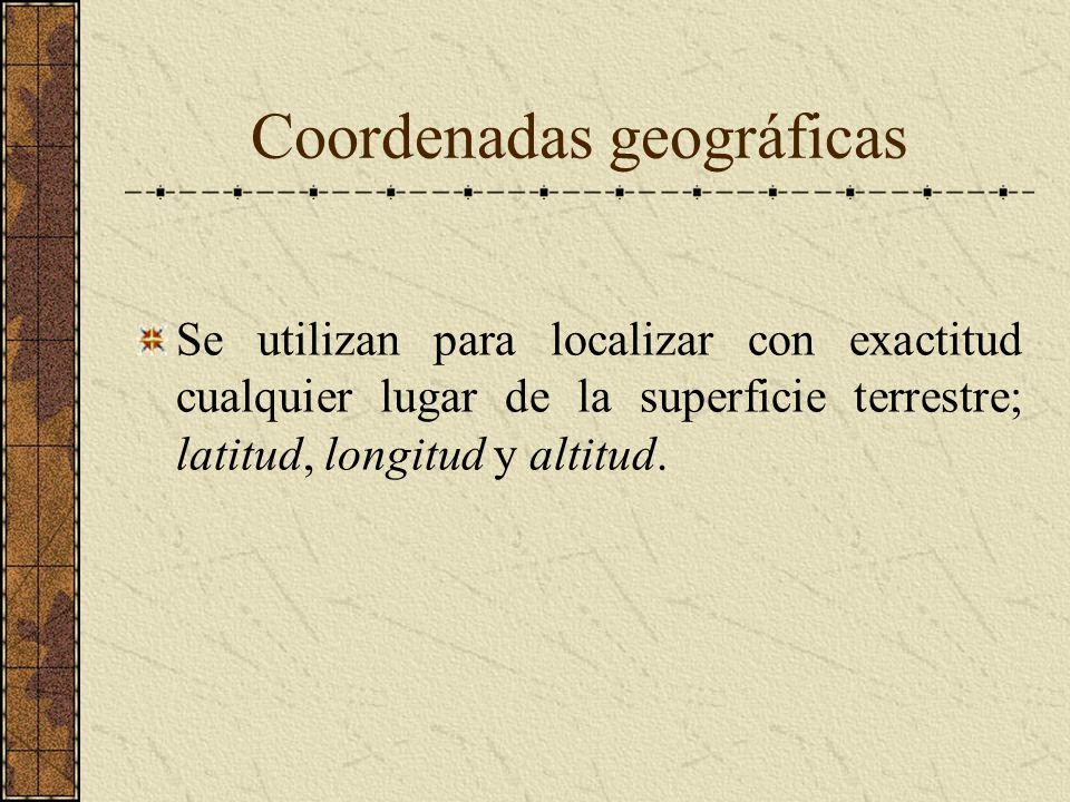 Coordenadas geográficas Se utilizan para localizar con exactitud cualquier lugar de la superficie terrestre; latitud, longitud y altitud.