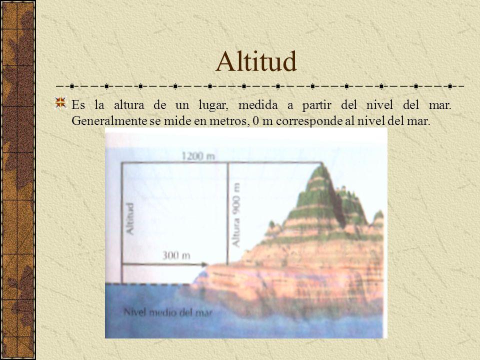 Altitud Es la altura de un lugar, medida a partir del nivel del mar. Generalmente se mide en metros, 0 m corresponde al nivel del mar.