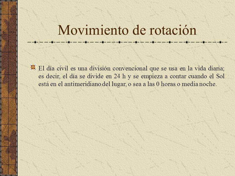 Movimiento de rotación El día civil es una división convencional que se usa en la vida diaria; es decir, el día se divide en 24 h y se empieza a conta