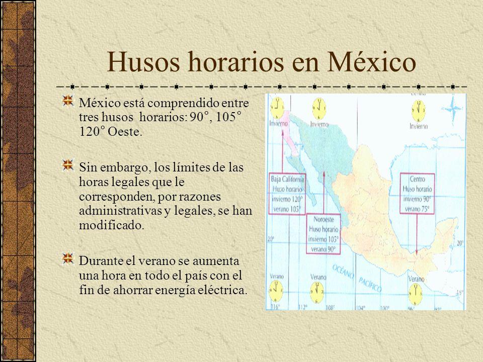 Husos horarios en México México está comprendido entre tres husos horarios: 90°, 105° 120° Oeste. Sin embargo, los límites de las horas legales que le