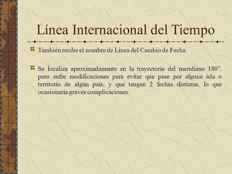 Línea Internacional del Tiempo También recibe el nombre de Línea del Cambio de Fecha. Se localiza aproximadamente en la trayectoria del meridiano 180°