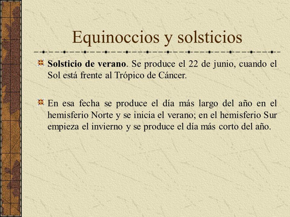 Equinoccios y solsticios Solsticio de verano. Se produce el 22 de junio, cuando el Sol está frente al Trópico de Cáncer. En esa fecha se produce el dí