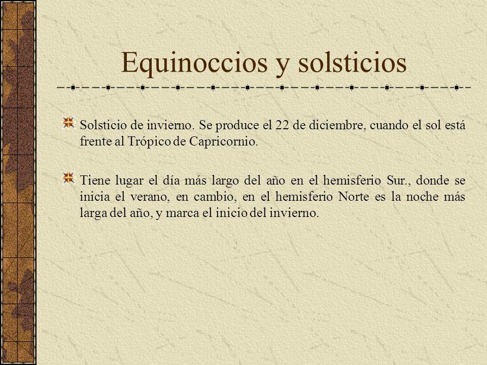 Equinoccios y solsticios Solsticio de invierno. Se produce el 22 de diciembre, cuando el sol está frente al Trópico de Capricornio. Tiene lugar el día