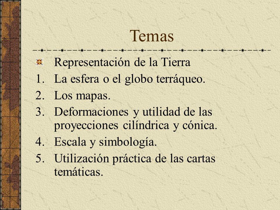Temas Representación de la Tierra 1.La esfera o el globo terráqueo. 2.Los mapas. 3.Deformaciones y utilidad de las proyecciones cilíndrica y cónica. 4