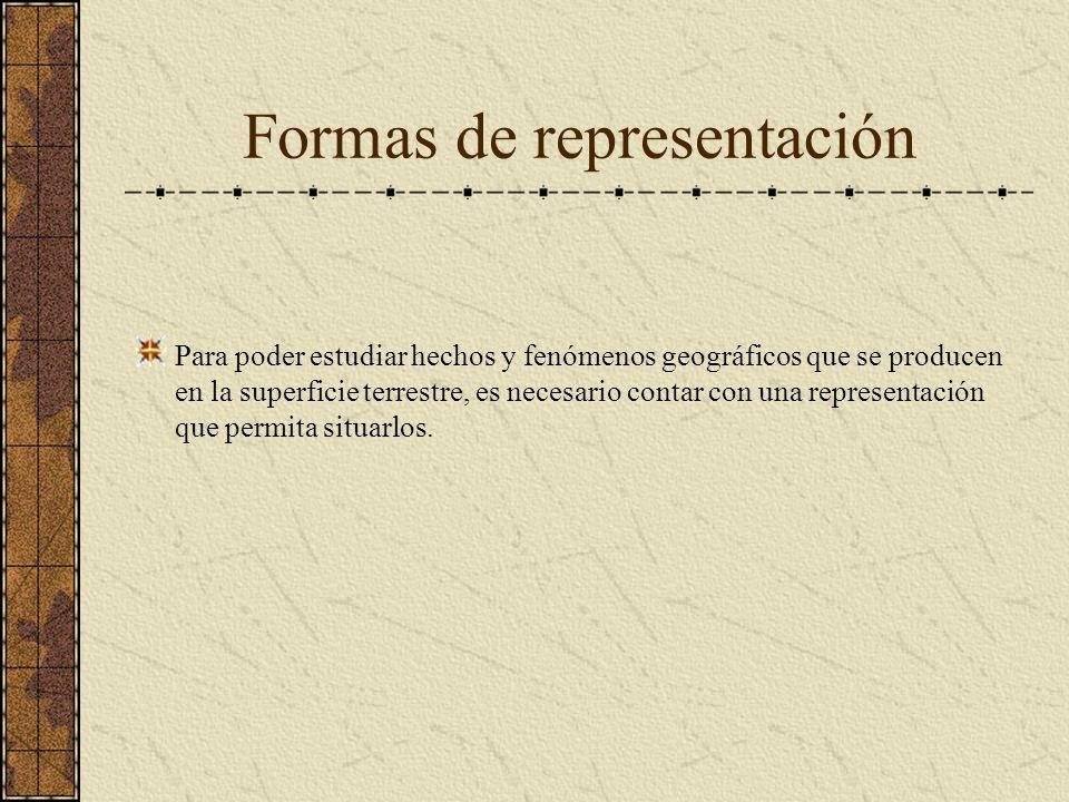 Formas de representación Para poder estudiar hechos y fenómenos geográficos que se producen en la superficie terrestre, es necesario contar con una re