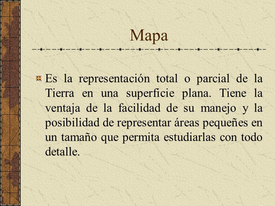 Mapa Es la representación total o parcial de la Tierra en una superficie plana. Tiene la ventaja de la facilidad de su manejo y la posibilidad de repr