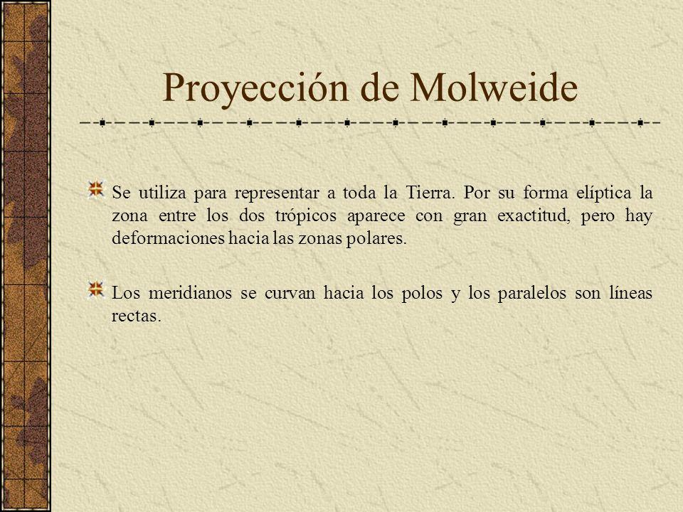 Proyección de Molweide Se utiliza para representar a toda la Tierra. Por su forma elíptica la zona entre los dos trópicos aparece con gran exactitud,