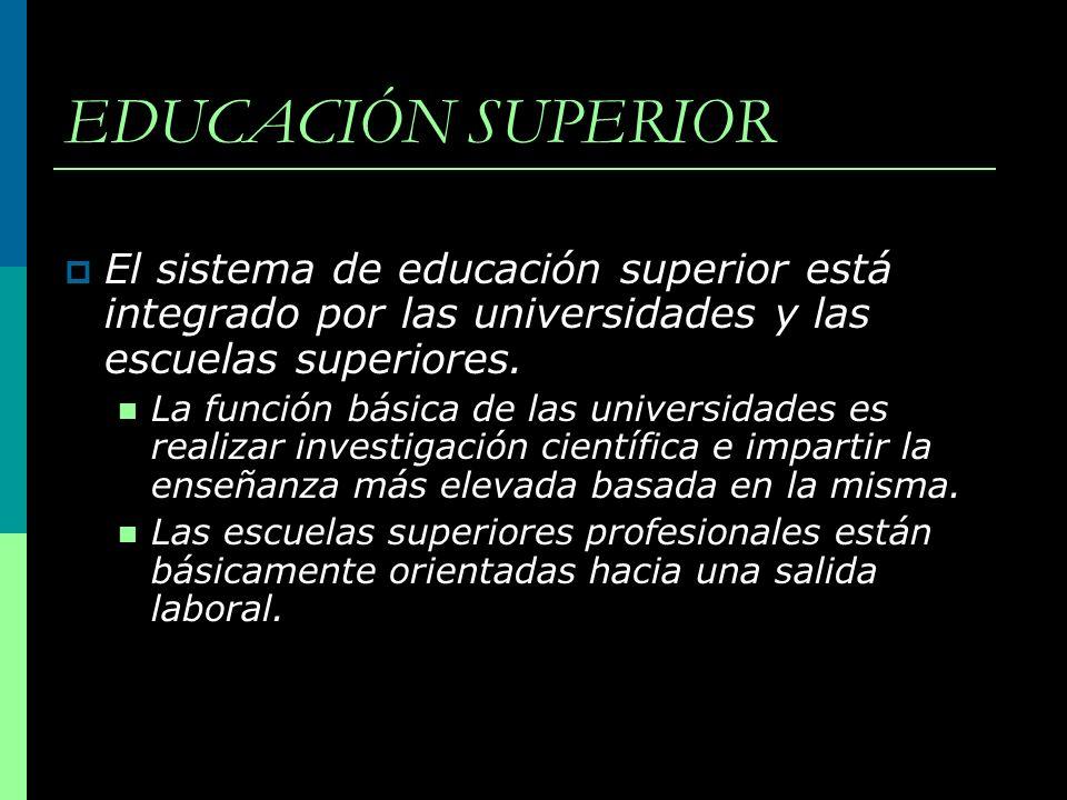 EDUCACIÓN SUPERIOR El sistema de educación superior está integrado por las universidades y las escuelas superiores. La función básica de las universid