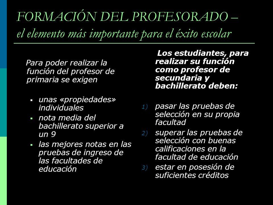 FORMACIÓN DEL PROFESORADO – el elemento más importante para el éxito escolar Para poder realizar la función del profesor de primaria se exigen unas «p