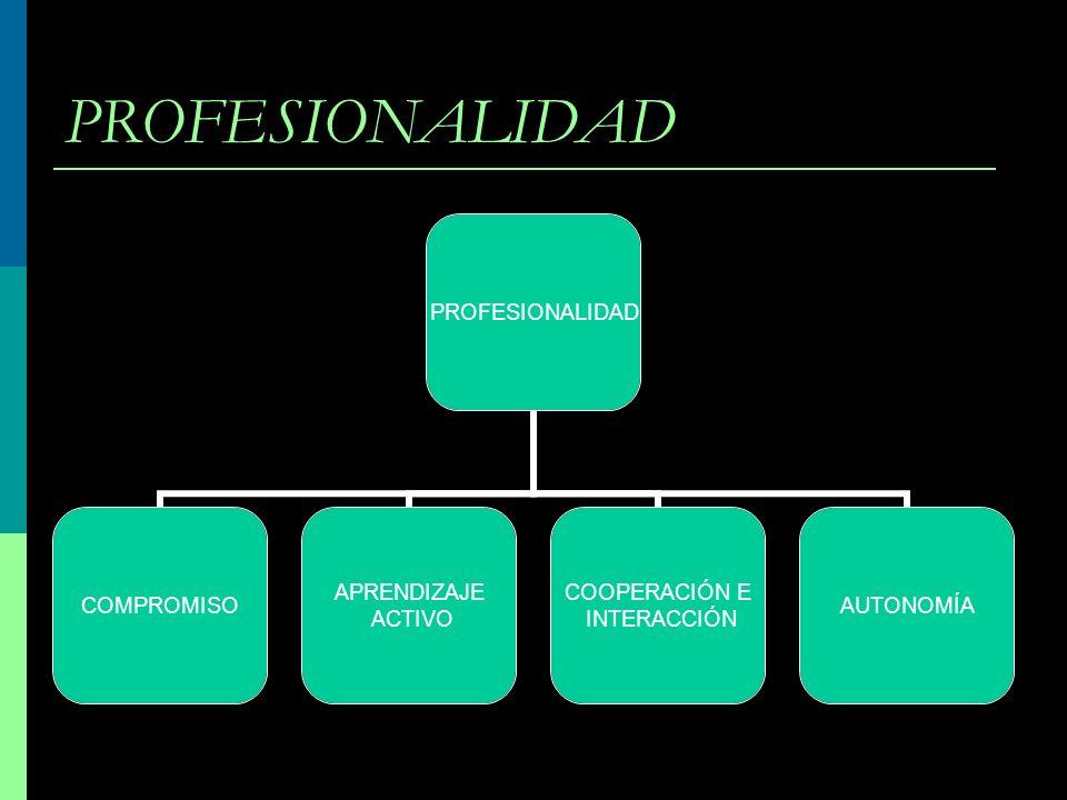 PROFESIONALIDAD COMPROMISO APRENDIZAJE ACTIVO COOPERACIÓN E INTERACCIÓN AUTONOMÍA