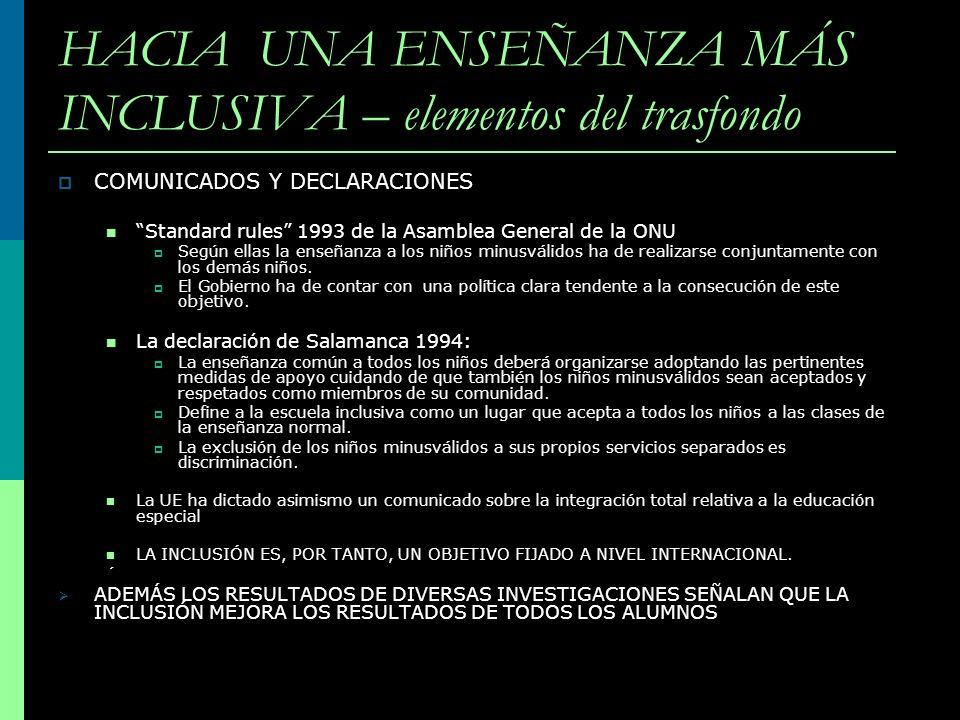 HACIA UNA ENSEÑANZA MÁS INCLUSIVA – elementos del trasfondo COMUNICADOS Y DECLARACIONES Standard rules 1993 de la Asamblea General de la ONU Según ell
