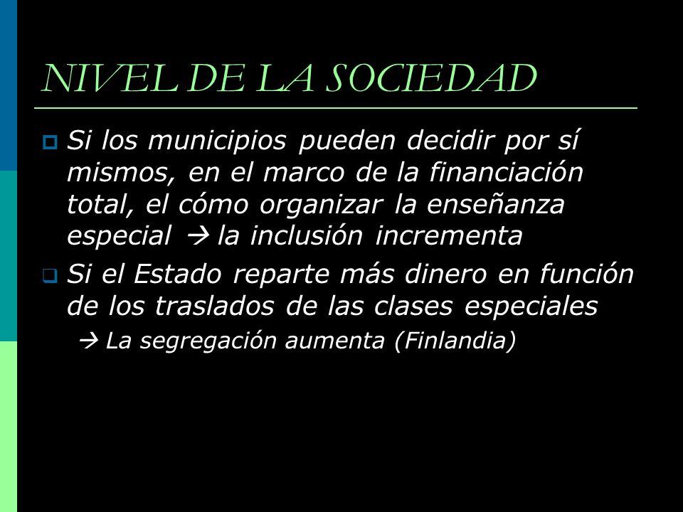 NIVEL DE LA SOCIEDAD Si los municipios pueden decidir por sí mismos, en el marco de la financiación total, el cómo organizar la enseñanza especial la
