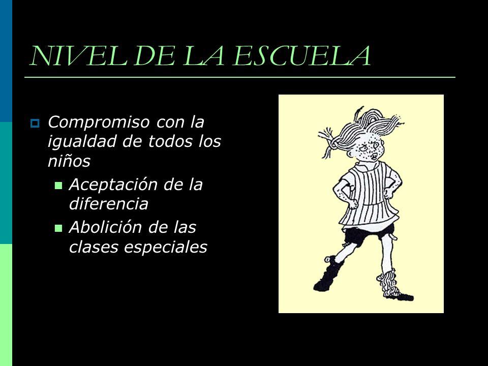 NIVEL DE LA ESCUELA Compromiso con la igualdad de todos los niños Aceptación de la diferencia Abolición de las clases especiales