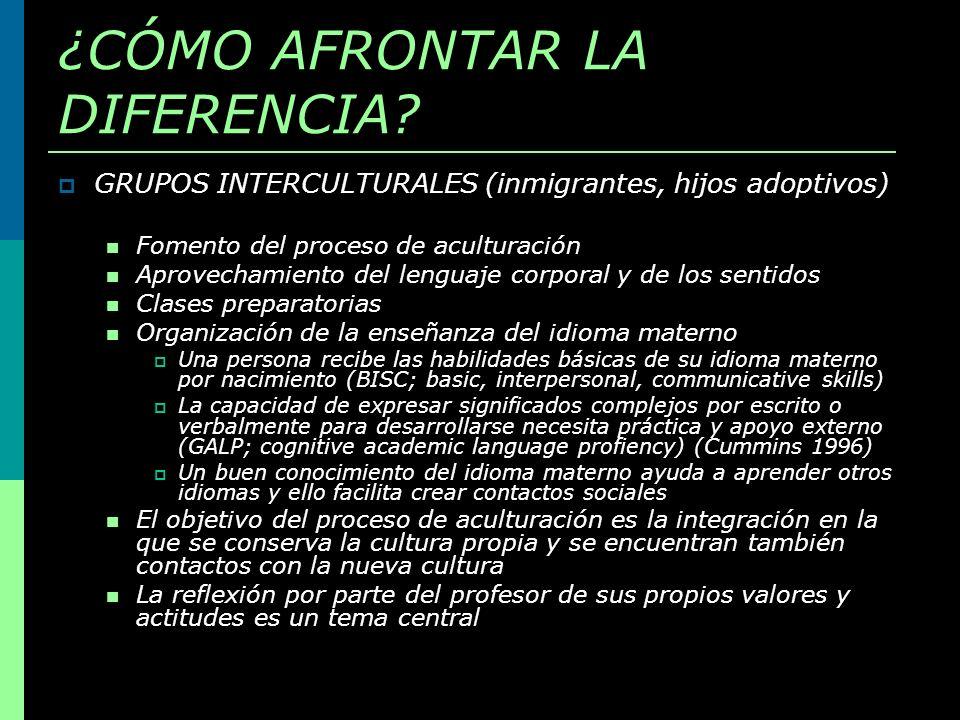 ¿CÓMO AFRONTAR LA DIFERENCIA? GRUPOS INTERCULTURALES (inmigrantes, hijos adoptivos) Fomento del proceso de aculturación Aprovechamiento del lenguaje c