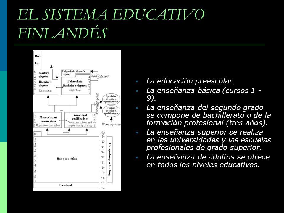 EL SISTEMA EDUCATIVO FINLANDÉS La educación preescolar. La enseñanza básica (cursos 1 - 9). La enseñanza del segundo grado se compone de bachillerato