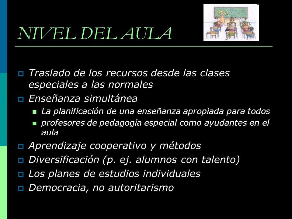 NIVEL DEL AULA Traslado de los recursos desde las clases especiales a las normales Enseñanza simultánea La planificación de una enseñanza apropiada pa