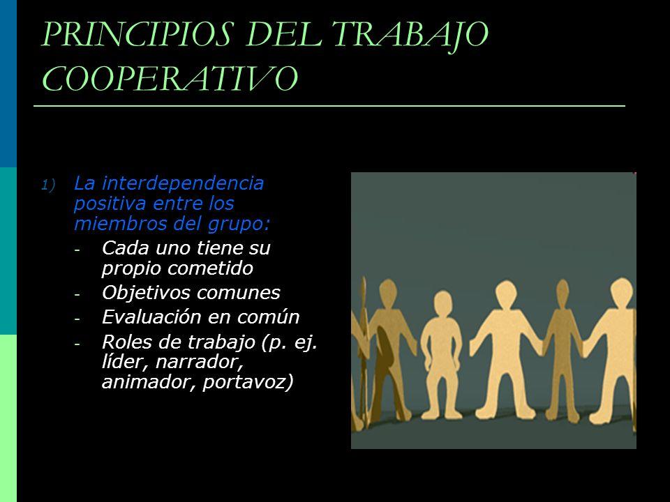 PRINCIPIOS DEL TRABAJO COOPERATIVO 1) La interdependencia positiva entre los miembros del grupo: - Cada uno tiene su propio cometido - Objetivos comun