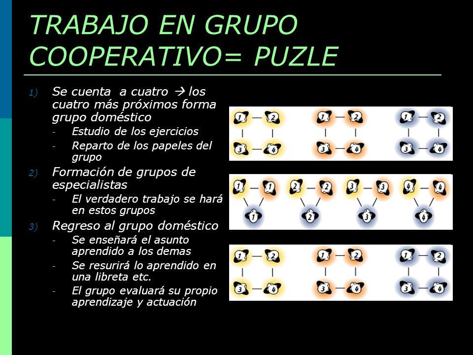 TRABAJO EN GRUPO COOPERATIVO= PUZLE 1) Se cuenta a cuatro los cuatro más próximos forma grupo doméstico - Estudio de los ejercicios - Reparto de los p