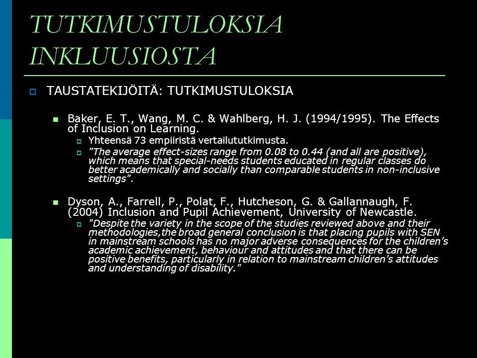 TUTKIMUSTULOKSIA INKLUUSIOSTA TAUSTATEKIJÖITÄ: TUTKIMUSTULOKSIA Baker, E. T., Wang, M. C. & Wahlberg, H. J. (1994/1995). The Effects of Inclusion on L