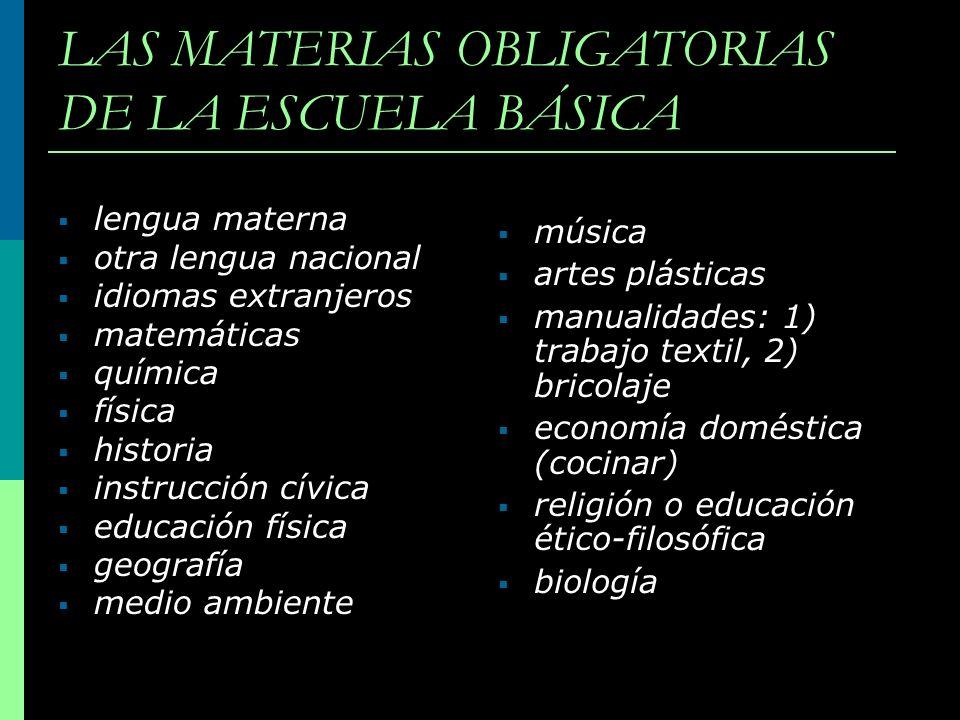 LAS MATERIAS OBLIGATORIAS DE LA ESCUELA BÁSICA lengua materna otra lengua nacional idiomas extranjeros matemáticas química física historia instrucción