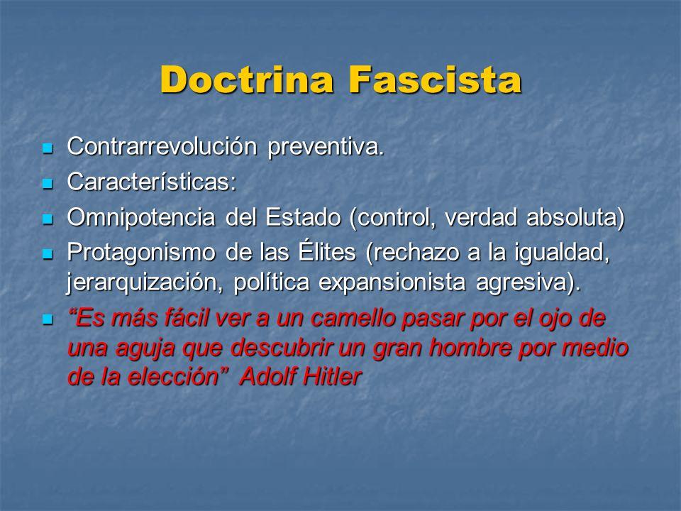 Doctrina Fascista Contrarrevolución preventiva. Contrarrevolución preventiva. Características: Características: Omnipotencia del Estado (control, verd