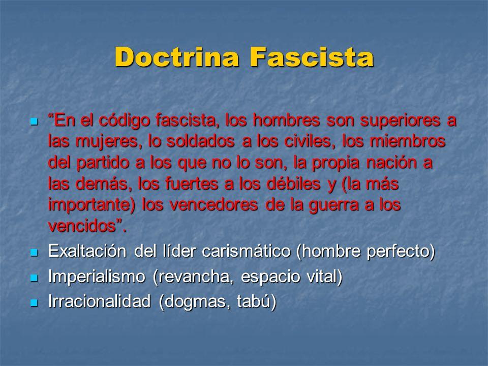 Doctrina Fascista En el código fascista, los hombres son superiores a las mujeres, lo soldados a los civiles, los miembros del partido a los que no lo