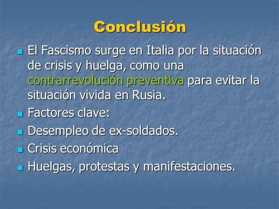 Conclusión El Fascismo surge en Italia por la situación de crisis y huelga, como una contrarrevolución preventiva para evitar la situación vivida en R