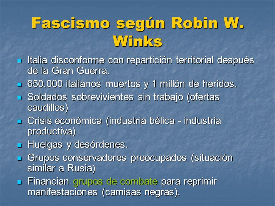 Fascismo según Robin W. Winks Italia disconforme con repartición territorial después de la Gran Guerra. Italia disconforme con repartición territorial