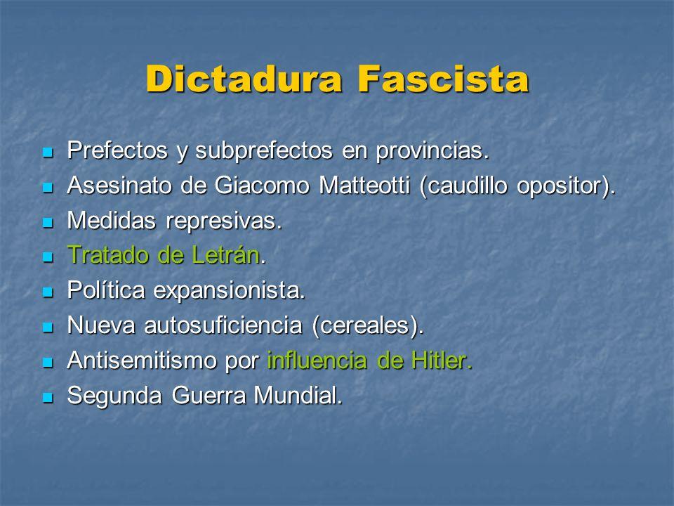 Dictadura Fascista Prefectos y subprefectos en provincias. Prefectos y subprefectos en provincias. Asesinato de Giacomo Matteotti (caudillo opositor).