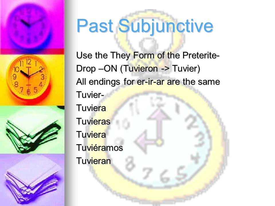 Present Subjunctive HablarHableHablesHableHablemosHablenConocerConozcaConozcasConozcaConozcamosConozcan Yo-form of all verbs opposite endings
